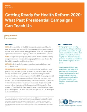Getting Ready for Health Reform 2020:  What Past Presidential Campaigns  Can Teach Us