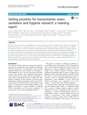 Setting Priorities for Humanitarian Water, Sanitation and Hygiene Research: A Meeting Report