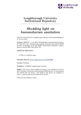 Shedding light on humanitarian sanitation