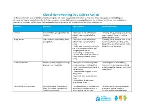 Global Handwashing Day Calls to Action